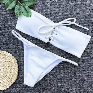 Solid V-Neck Buttoned/Knotted Adjustable Bikini Set. (19 Styles Available)