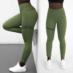 High Waist Patchwork Fitness Leggings. (Quick-Dry Slim Sports Tights)