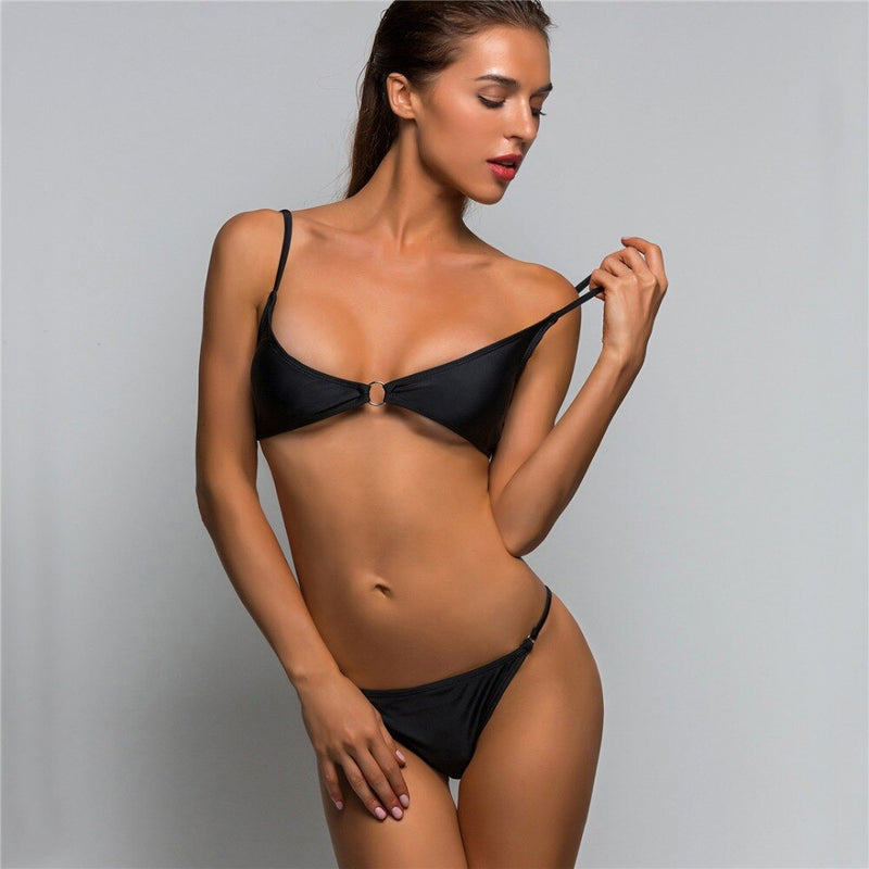 Brazilian Style Ring Tie Two Piece Padded Bikini. (2 Colors Available)