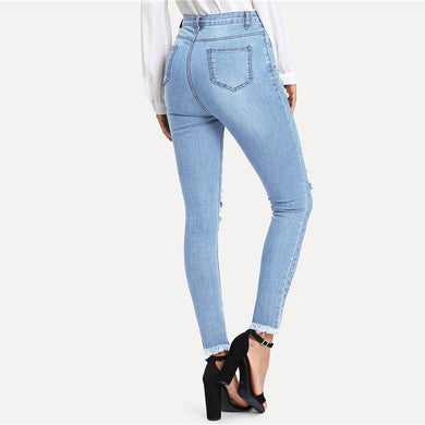 Mid Waist Frayed Hem Stretch Ripped Jeans.