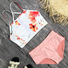 High Waist Push Up Print Design Two Piece Bikini. (4 Colors Available)