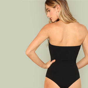 Sleeveless Mid Waist Slim Fitted Strapless Bodysuit.