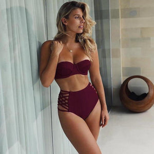 High Waist Hollow Out Bandage Push Up Two Piece Bikini. (3 Colors Available)