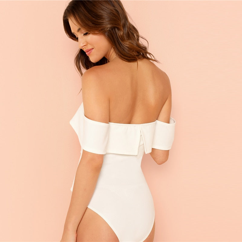 Off Shoulder Deep V-Neck Front Bardot Skinny Bodysuit.