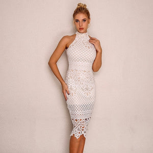 Floral Pattern Sleeveless Hollow Out Lace Bodycon Dress. (4 Colors Available)
