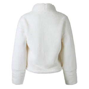 Faux Fur Thick Long Sleeve Turtleneck Plush Sweater.