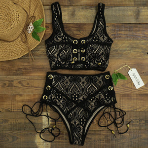 High Waist Lace Push Up Two Piece Bikini. (5 Colors Available)