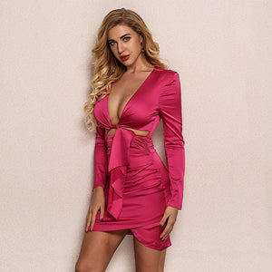 Long Sleeve Irregular Hollow Out V-Neck Bodycon Mini Dress.