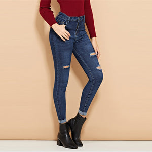 Mid Waist Roll-Up Skinny Ripped Casual Jeans.