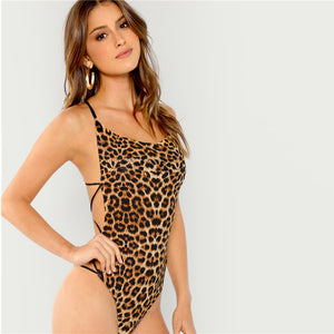 Leopard Print Strap Back Slim Fitted Thong Bodysuit.