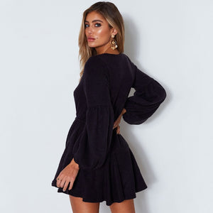 Lantern Sleeve V-Neck Ruffle Lace Up Knitted Sweater Dress. (7 Colors Available)