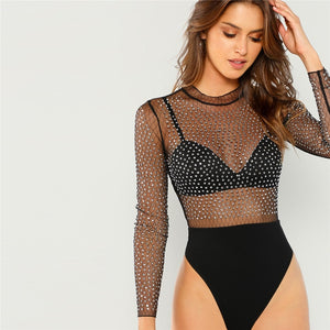Frill Neck Semi Sheer Mid Waist Solid Bodysuit.