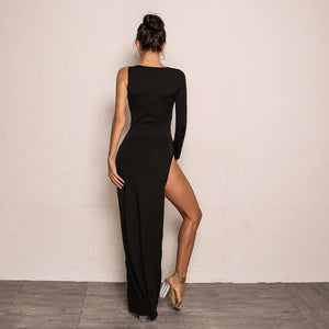 Asymmetrical High Split One Shoulder Bodycon Dress.