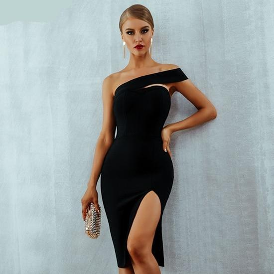 One Shoulder Knee Length Bandage Bodycon Dress. (3 Colors Available)