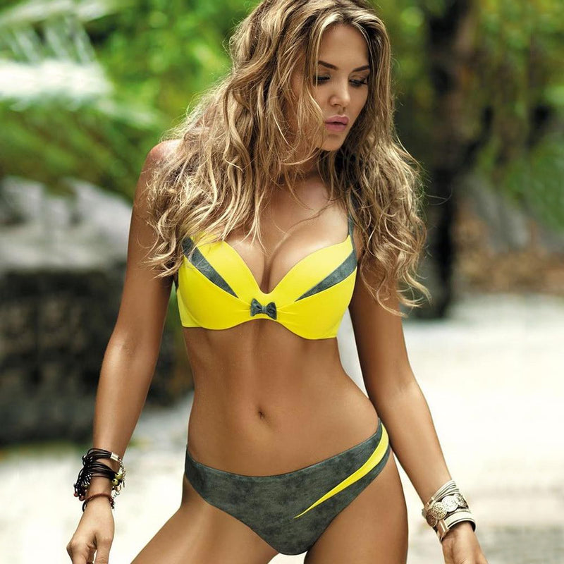 Patchwork Push Up Brazilian Style Two Piece Bikini. (5 Colors Available)
