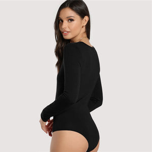Scoop Neck Long Sleeve Mid Waist Skinny Solid Bodysuit.