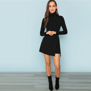 High Neck Heather Knit Skinny Solid Mid Waist Bodysuit.