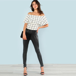 Ruffle Layered Neck Off Shoulder Plaid Bodysuit.