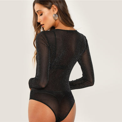 Long Sleeve Round Neck Mesh Sheer Skinny Bodysuit.