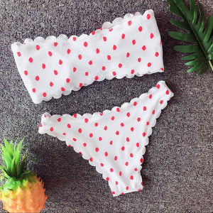 Dot Printed Push Up Padded Two Piece Bow Bikini. (4 Colors Available)