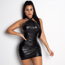 Backless Halter Solid PU Bodycon Bandage Mini Dress.