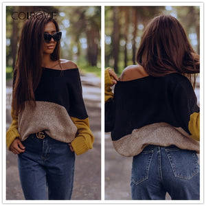 Knitted Multicolor Loose Style Winter Sweater.