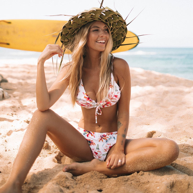 Lace Up Floral & Striped Reversible Two Piece Bikini Set.