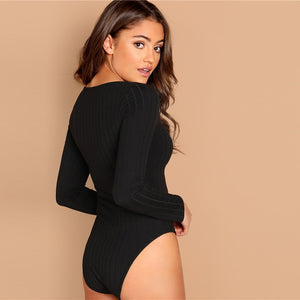 Mid Waist Square Neck Form Fitting Long Sleeve Bodysuit.