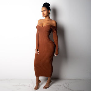 Off Shoulder Empire V-Neck Bodycon Midi Dress. (5 Colors Available)