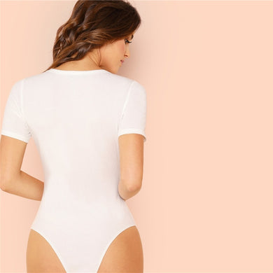 O-Neck Short Sleeve Minimalist Form Fitting Bodysuit.