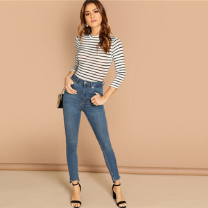 Mid Waist Striped Mock Neck 3/4 Sleeve Skinny Bodysuit.
