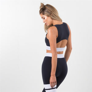 Patchwork Solid Tracksuit Fitness Set. (Sports Bra & Leggings)