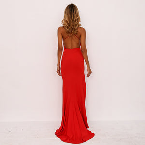Backless High Split Bodycon Strap Maxi Dress. (2 Colors Available)