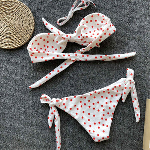 Polka Dot Knotted Bandeau Two Piece Bikini. (8 Colors Available)