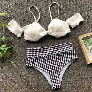 High Waist Off Shoulder Two Piece Plaid Bikini.
