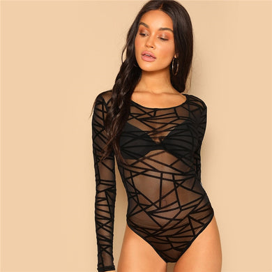 Long Sleeve Mid Waist Geo Mesh Form Fitted Bodysuit.