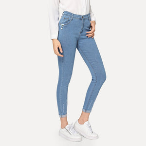 Roll-Up High Waist Stretch Ripped Tapered Skinny Jeans.