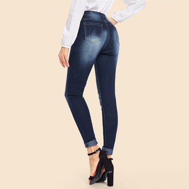 Mid Waist Stretch Skinny Plain Bleached Jeans.