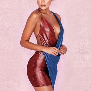 Backless Asymmetric V-Neck Bodycon Mini Bandage Dress. (4 Colors Available)