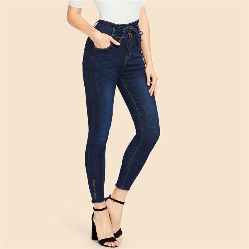 Faded Wash Mid Waist Knot Tie Skinny Capris Jeans.