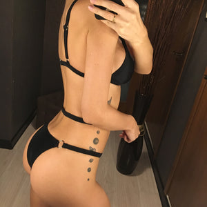 Low Waist Bandage Caged One Piece Swimsuit. (3 Colors Available)