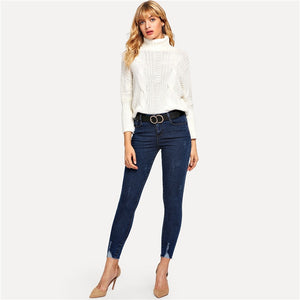 Mid Waist Skinny Ankle Button Fly Solid Jeans.