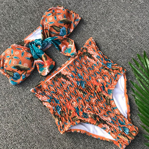 Bow-Knot Strapless Pineapple Print Bandage Two Piece Bikini.
