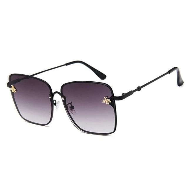 Oversized Squared Metal Frame Brand Designer Bee Sunglasses. (10 Colors Available)