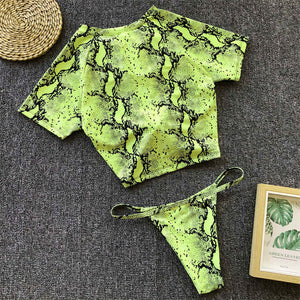 Short Sleeve Knot Sport Brazilian Style Two Piece Bikini. (9 Colors Available)
