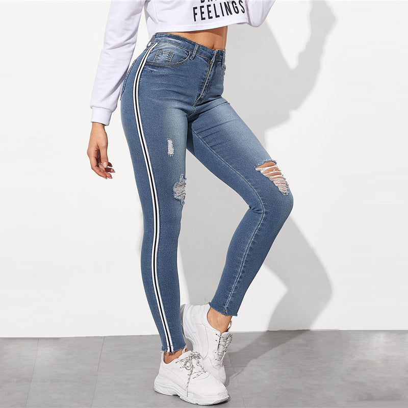 Striped Side Leisure Stretch Ripped Skinny Jeans.