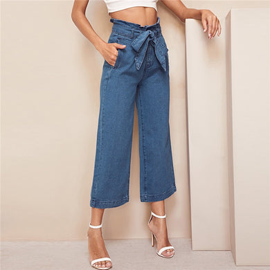 High Waist Wide Leg Belted Loose Capris Jeans.