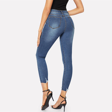 Mid Waist Frayed Edge Casual Stretch Ripped Jeans.