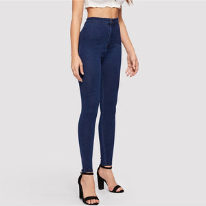 Solid High Waist Stretch Skinny Jeans. (2 Colors Available)