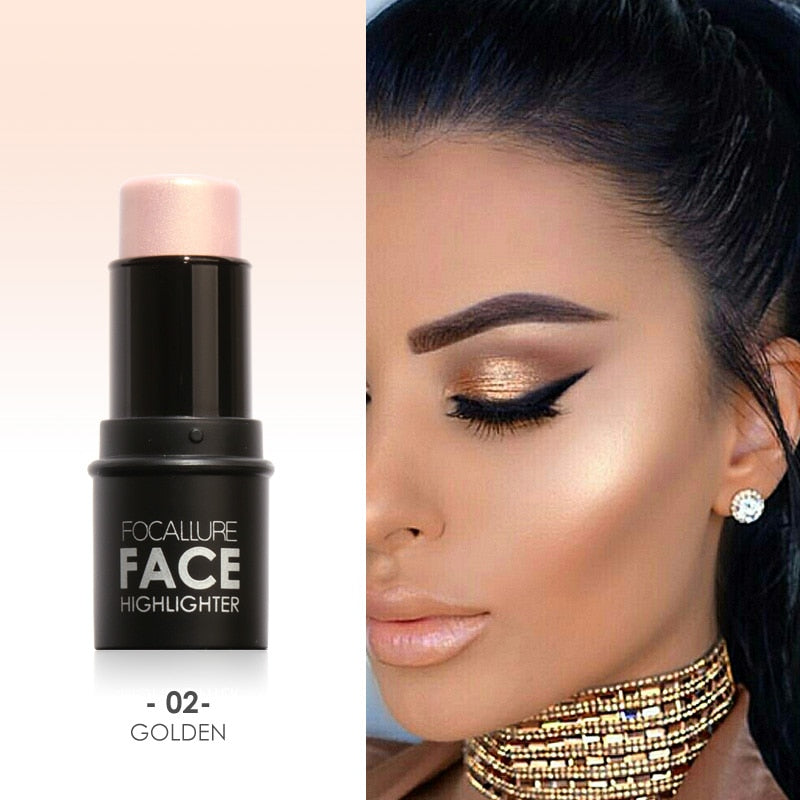 Waterproof Long Lasting Highlighter & Bronzer Creamy Concealer Shimmer Powder Face Contour Stick. (4 Colors Available)